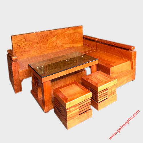 Bộ sofa góc gỗ hương đá tựa liền SF019
