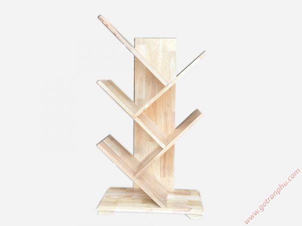 Kệ sách gỗ cao su kiểu xương cá 5 tay KS023 (1)