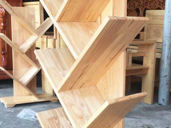 Kệ sách gỗ cao su kiểu xương cá 7 tay KS024 (3)