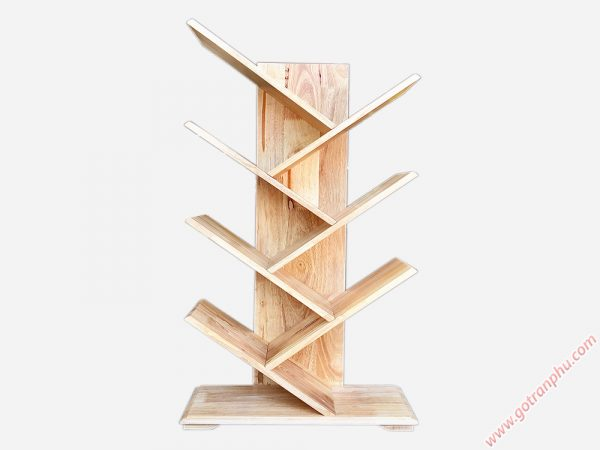 Kệ sách gỗ cao su kiểu xương cá 7 tay KS024 (5)