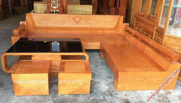 Sofa góc gỗ sồi mỹ họa tiết kim cương (4)