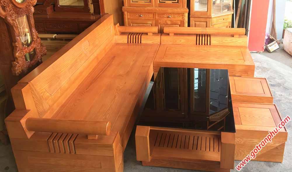 Sofa góc gỗ sồi mỹ họa tiết kim cương (6)