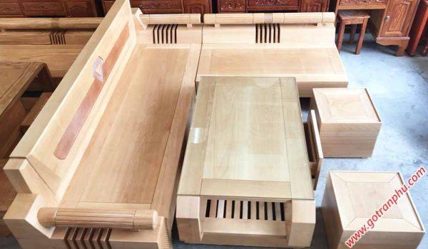 SF022 Sofa góc gỗ bích họa tiết kim cương (2)