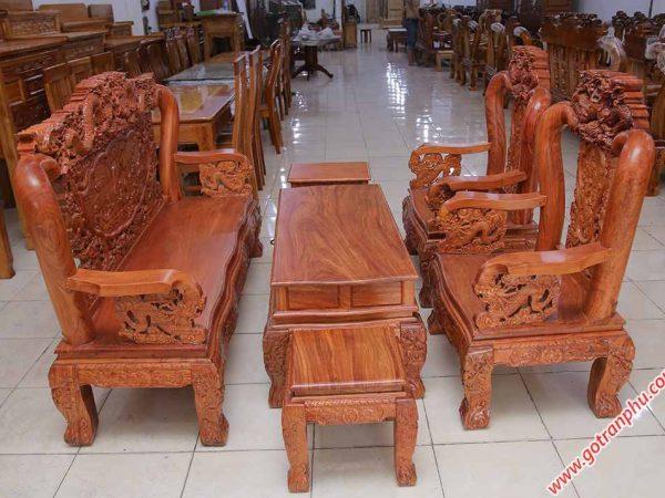 Salon gỗ cẩm lai tay 10 chạm rồng bát tiên SA026 (4)