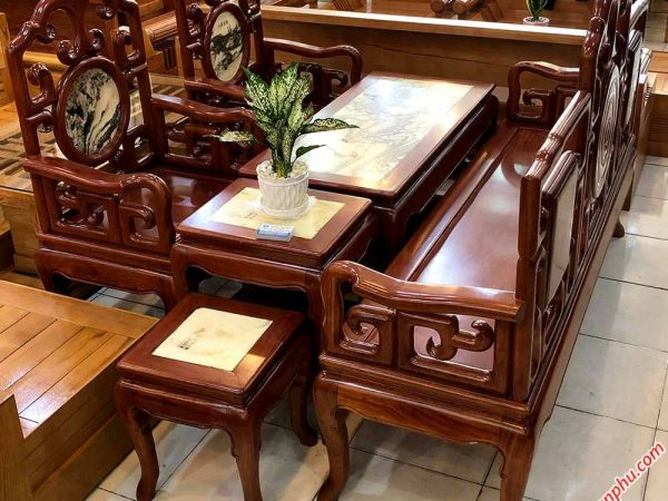 Salon gỗ hương đá chuông móc khảm đá SA029 (6)