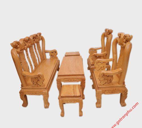 Salon gỗ gõ đỏ tay 10 tay ghế chạm rồng SA008