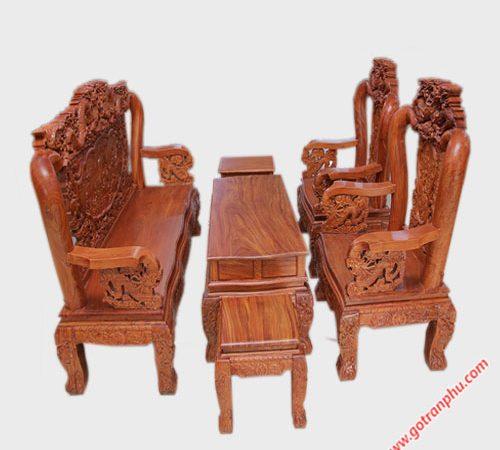 Salon tay 10 gỗ cẩm lai rồng bát tiên SA033