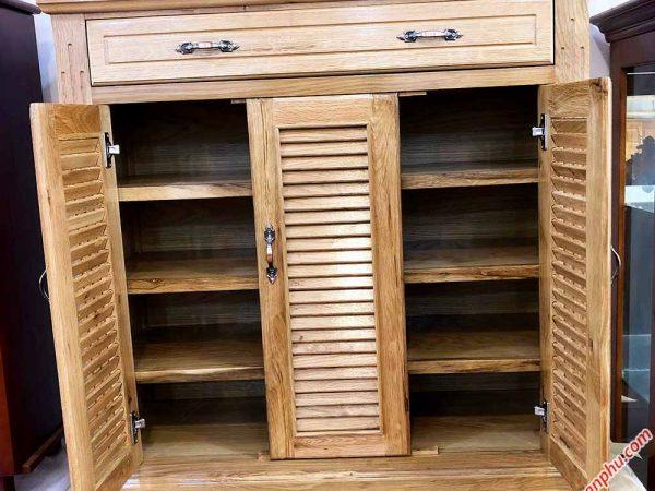 Tủ đựng giày dép gỗ sồi màu trắng 3 cánh 1m - 1m2 (6)