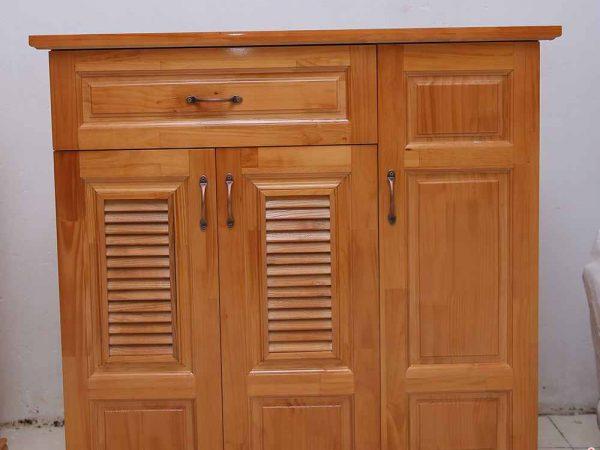 Tủ giày dép gỗ cao su 3 cánh ngang 1m - 1m2 (1)