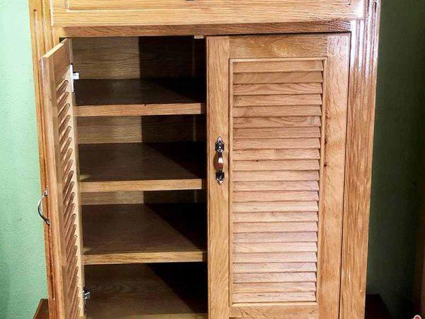 Tủ giày dép gỗ sồi 2 cánh ngang 80cm TD015 (2)
