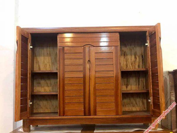 Tủ giày dép gỗ xoan đào 4 cánh 1m2 TD011 (8)