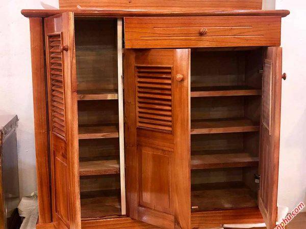 Tủ giày dép gỗ xoan ta 3 cánh ngang 1m TD010 (1)