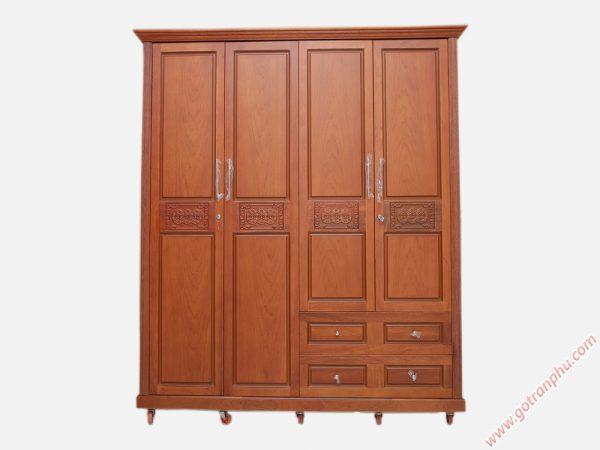 Tủ quần áo gỗ căm xe nhập khẩu 4 cánh 2m (chạm đồng tiền) TA015 (1)