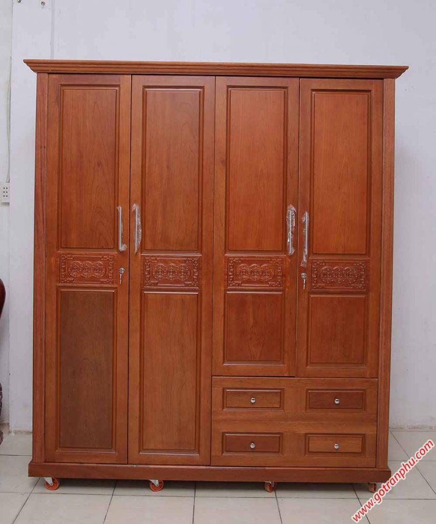 Tủ quần áo gỗ căm xe nhập khẩu 4 cánh 2m (chạm đồng tiền) TA015 (4)