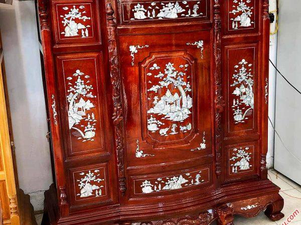 Tủ thờ gỗ căm gõ cẩn xà cừ 6 chân màu nâu đỏ TT015 (5)
