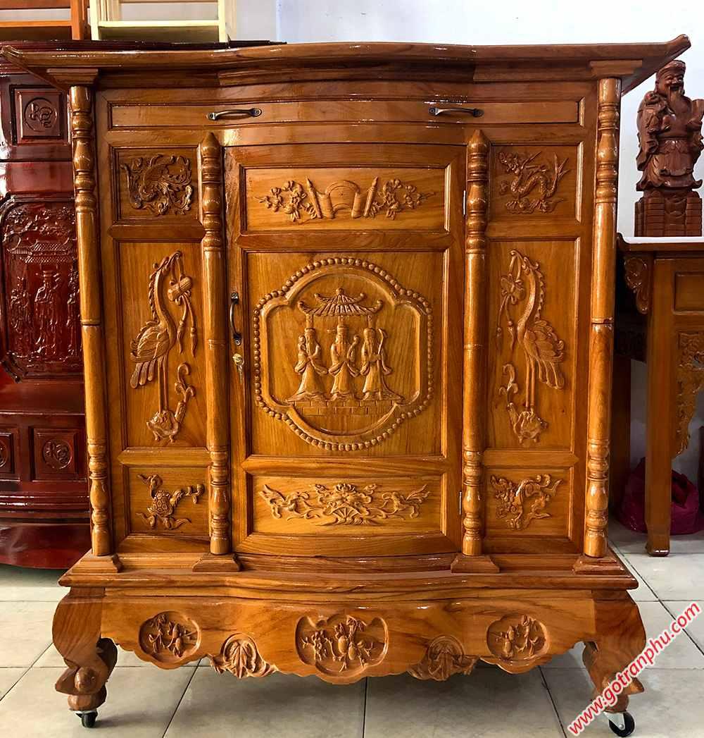 Tủ thờ gỗ gõ đỏ 100% chạm tam đa 1m27 - 1m54 - 1m75 - 1m97 (10)