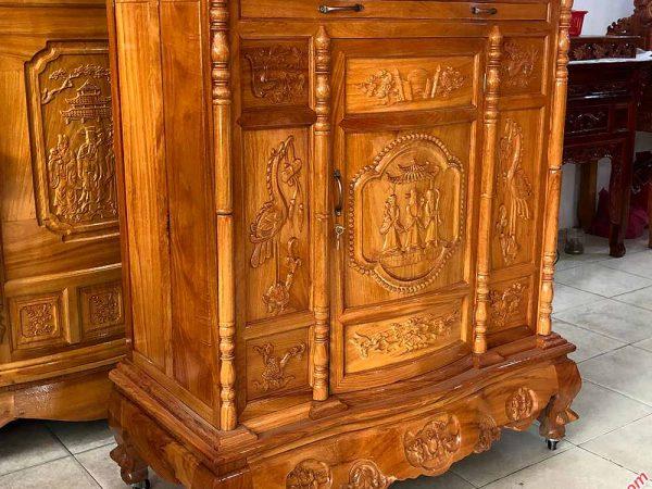 Tủ thờ gỗ gõ đỏ 100% chạm tam đa 1m27 - 1m54 - 1m75 - 1m97 (3)