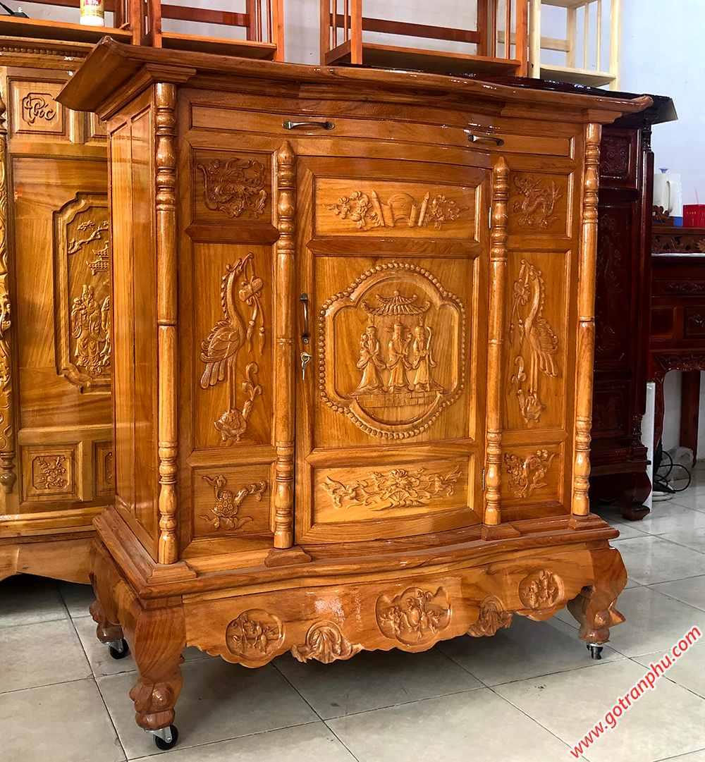 Tủ thờ gỗ gõ đỏ 100% chạm tam đa 1m27 - 1m54 - 1m75 - 1m97 (6)