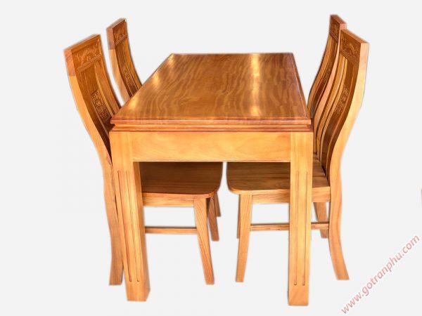 Bộ bàn ăn gỗ gõ đỏ mặt dày 3cm 4 ghế BA024 (3)