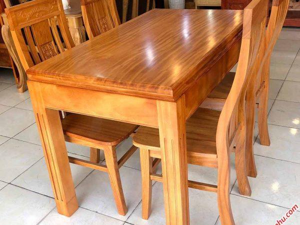 Bộ bàn ăn gỗ gõ đỏ mặt dày 3cm 4 ghế BA024 (6)