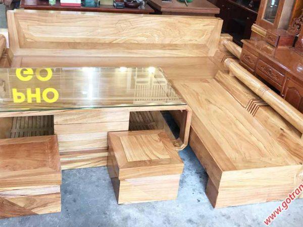 Bộ sofa góc gỗ gõ đỏ họa tiết kim cương SF021 (5)