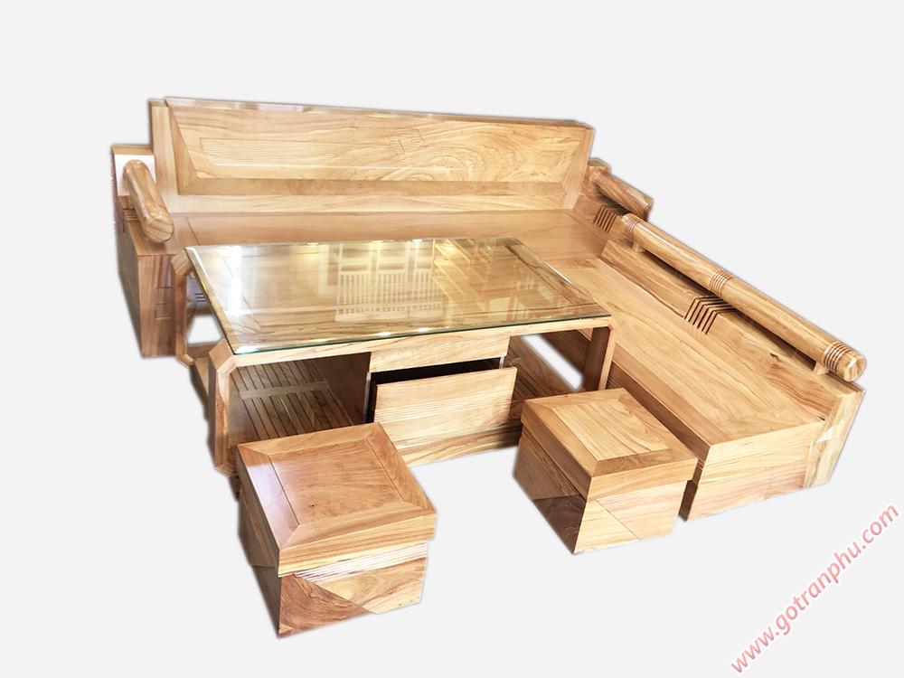 Bộ sofa góc gỗ gõ đỏ họa tiết kim cương SF021 (6)