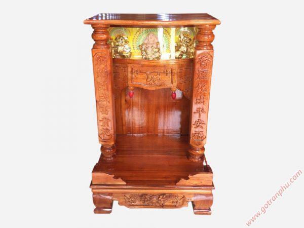 Bàn thờ ông địa thần tài gỗ xoan đào có đèn ngang 48cm - 56cm (2)