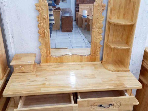 Bàn trang điểm gỗ thông 80cm màu trắng + nâu BT011 (2)