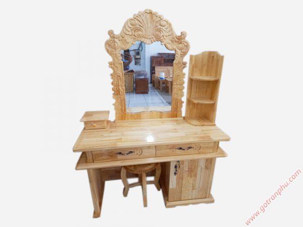 Bàn trang điểm gỗ thông 80cm màu trắng + nâu BT011 (5)