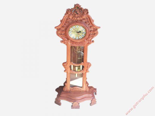Đồng hồ đứng gỗ hương chạm hoa lá DH007 (2)