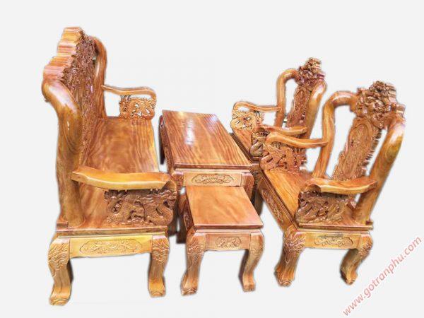 Salon gỗ gõ đỏ chạm rồng bát tiên tay 12 mặt liền tấm SA031 (8)