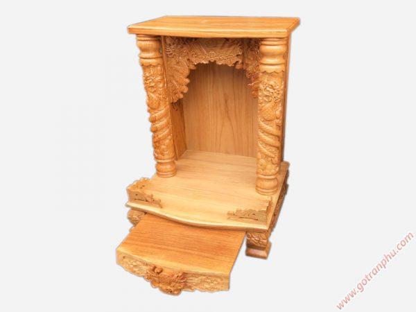 Trang thờ thần tài gỗ gõ đỏ ngang 48cm không đèn OD016 (2)