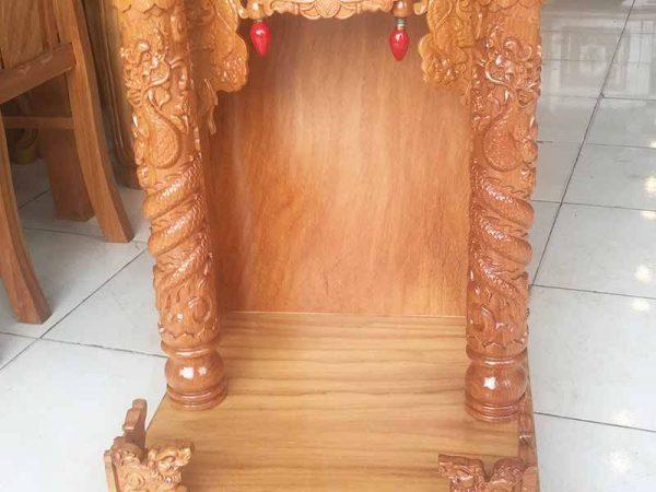 Trang thờ thần tài gỗ gõ đỏ ngang 48cm không đèn OD016 (4)