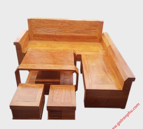 Bộ sofa góc gỗ hương đá tay nghiêng SF028