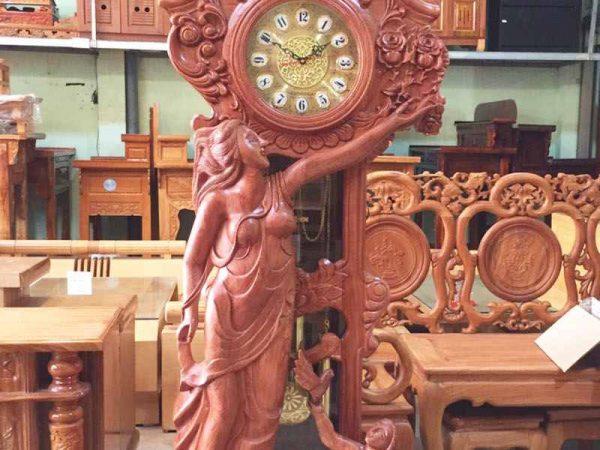 Đồng hồ đứng cô tiên gỗ cẩm lai (10)