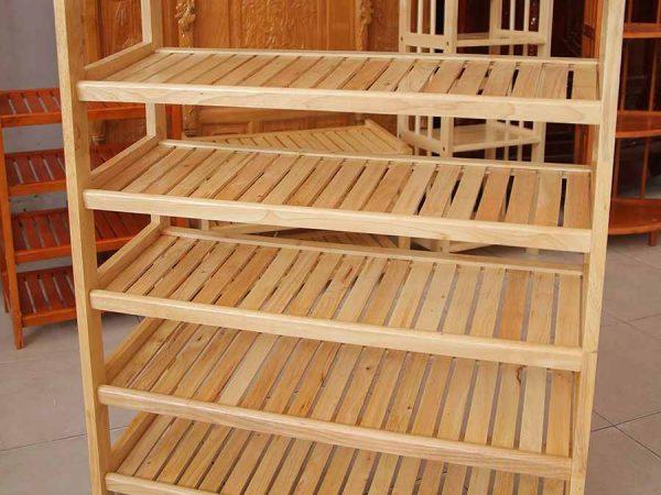Kệ giày dép gỗ cao su 6 tầng ngang 60cm KD011 (2)