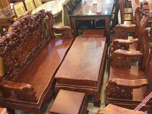 Salon gỗ cẩm lai tay 10 chạm rồng bát tiên (tay ghế chạm) (1)