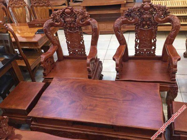 Salon gỗ cẩm lai tay 10 chạm rồng bát tiên (tay ghế chạm) (5)
