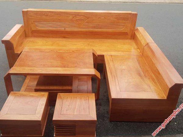 Sofa góc gỗ hương đá họa tiết kim cương (4)