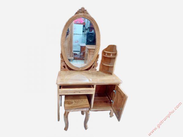 Bàn trang điểm gỗ gõ đỏ gương hình oval ngang 80cm BT016 (1)