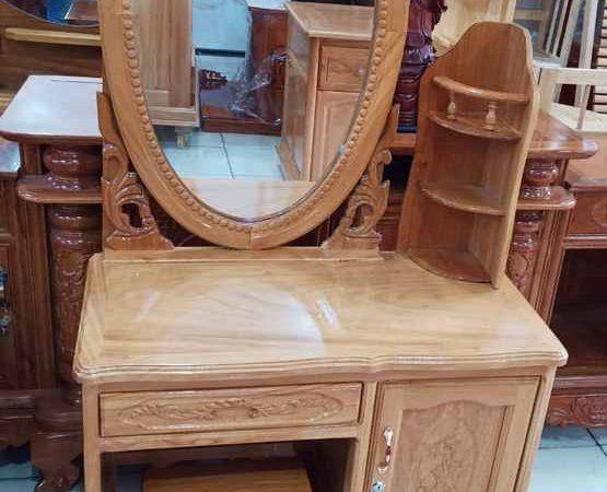 Bàn trang điểm gỗ gõ đỏ gương hình oval ngang 80cm BT016 (4)