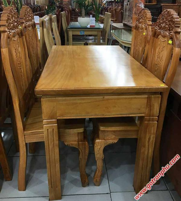 Bộ bàn ăn gỗ gõ đỏ 4 ghế Louis BA025 (3)