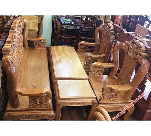 Salon gỗ gõ đỏ tay 10 chạm rồng bát tiên SA010