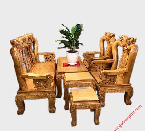 Salon gỗ gõ đỏ tay 12 chạm đào tay rồng SA009
