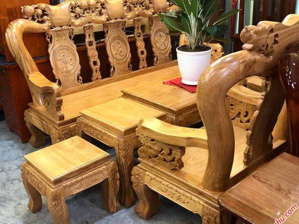 Salon gỗ gõ đỏ tay 12 chạm đào tay rồng SA034 (5)