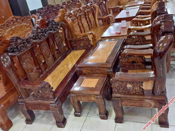 Salon gỗ xoan đào, mặt gõ bao lam chạm hoa lá tây tay 12 SA037 (4)