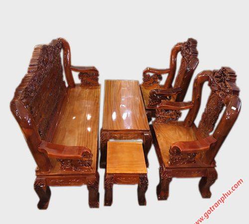 Salon gỗ xoan đào rồng bát tiên tay 12 SA027