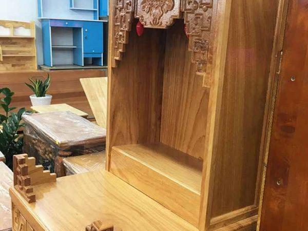 Trang thờ ông địa gỗ gõ đỏ không cột (sen) 48cm OD033 (5)