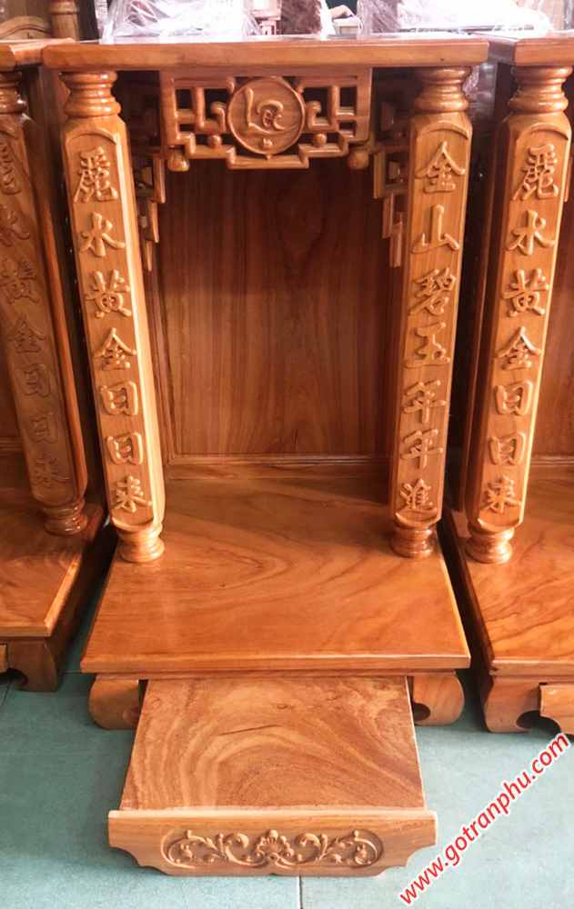 Trang thờ ông địa gỗ gõ đỏ không đèn cột vuông OD014 (3)