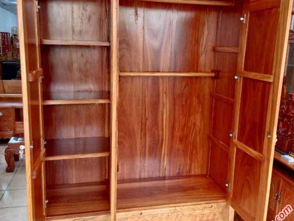 Tủ quần áo gỗ gõ đỏ 3 cánh 1m6 TA046 (3)